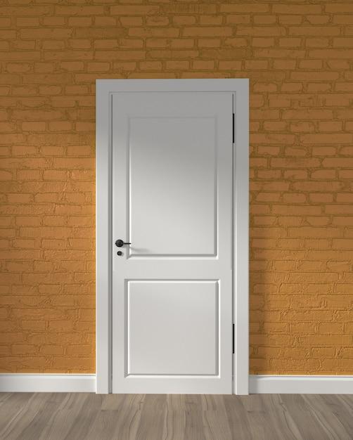 Modern loft white door and yellow brick wall on wooden floor. 3d rendering Premium Photo