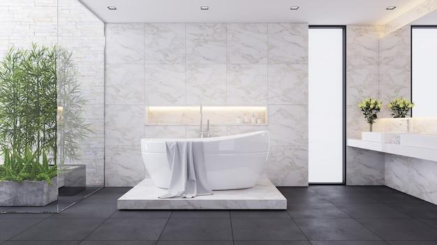 Современный роскошный дизайн ванной комнаты, белая комната, белая ванна на мраморной стене, 3d визуализация Premium Фотографии