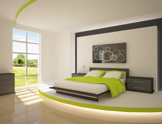 Modern luxury bedroom interior Premium Photo