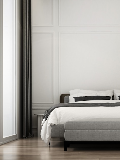Modern luxury bedroom space and mock up furniture interior design and wall texture background Premium Photo