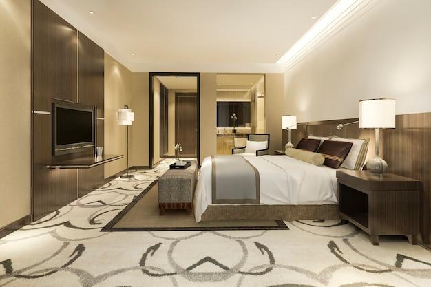 현대 럭셔리 침실 스위트 및 욕실 무료 사진