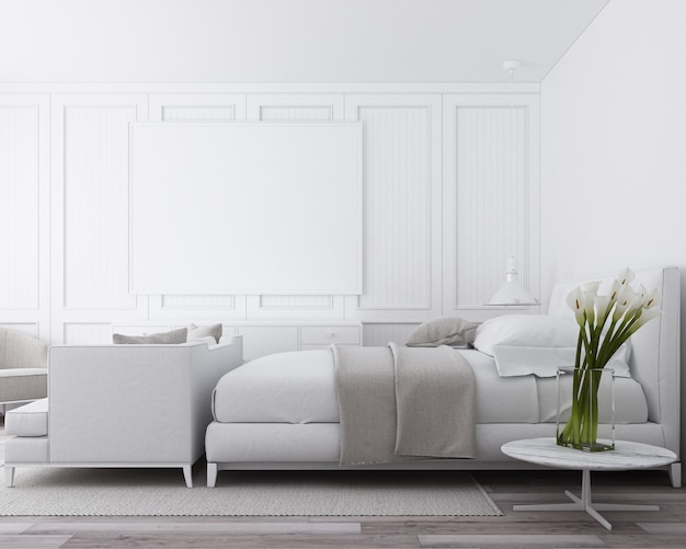 Premium Photo Modern Luxury Bedroom With Classic Wall Decorate And White Furniture 3d Render