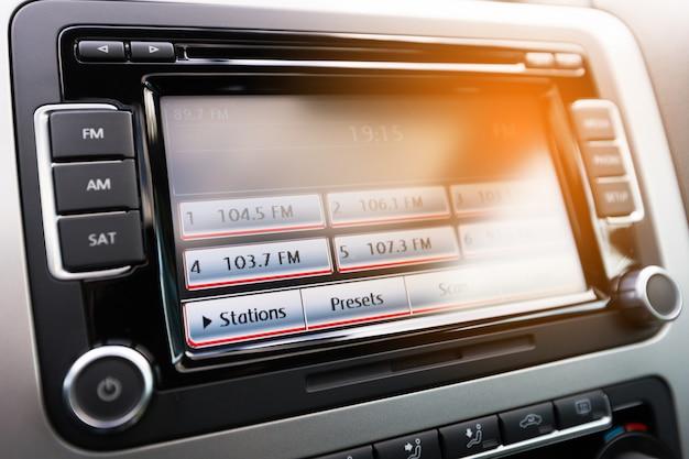 Modern luxury car dashboard with big display Premium Photo