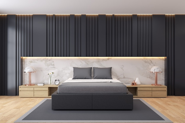 Modern luxury dark bedroom interior Premium Photo
