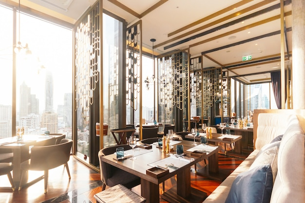 Modern luxury decorated interior restaurant that can view bangkok ...