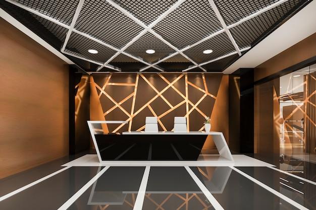현대적인 고급 호텔 및 사무실 리셉션 및 Loung 프리미엄 사진