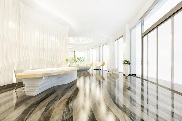 현대적인 고급 호텔 및 사무실 리셉션 및 라운지 홀 프리미엄 사진