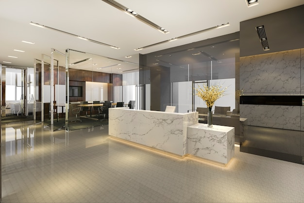 회의실 의자가있는 현대적인 고급 호텔 및 사무실 리셉션 및 라운지 프리미엄 사진