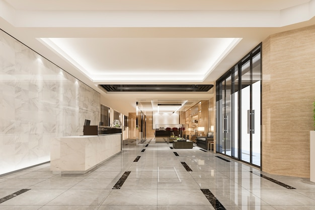 현대적인 고급 호텔과 사무실 리셉션 및 회의실이있는 라운지 무료 사진