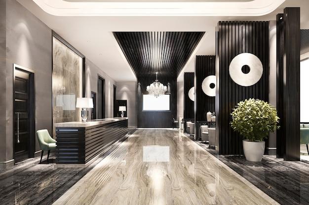 현대적인 고급 호텔과 사무실 리셉션 및 라운지 프리미엄 사진