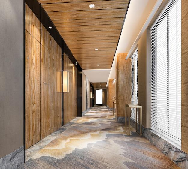 현대 고급 목재 및 타일 호텔 복도 프리미엄 사진