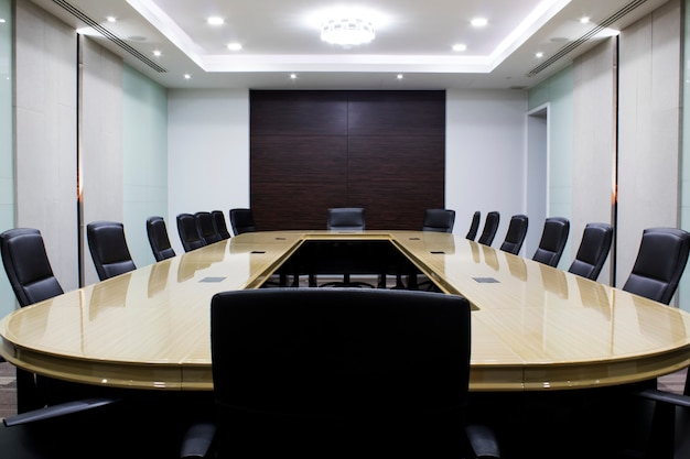 Modern meeting room with table and chairs. concept conventon room. conference room Premium Photo