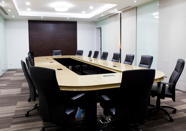 Modern meeting room with table and chairs. concept conventon room. Premium Photo