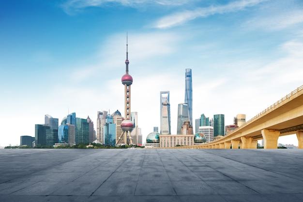 Modern metropolis skyline, shanghai, china, shanghai panorama. Premium Photo