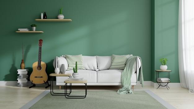 Modern mid century and minimalist interior of living room Premium Photo