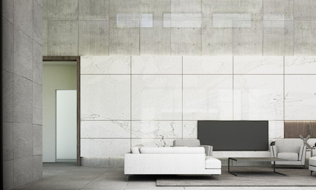 Premium Photo Modern Minimal Style Of Living And Dining Area With Sofa Set White Marble Wall Decorate And Grey Floor Tile 3d Rendering