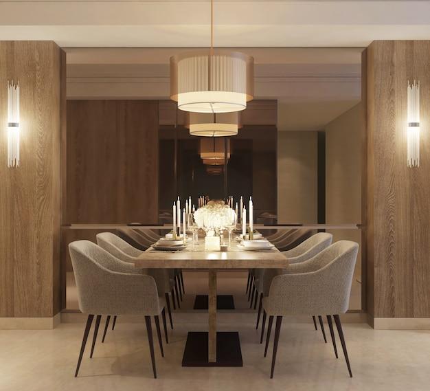 Modern minimalist design of dinning area with decoration Premium Photo