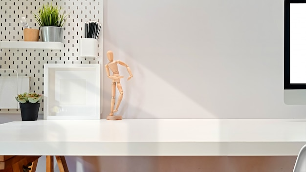 Modern minimalist desk workspace table and copy space Premium Photo