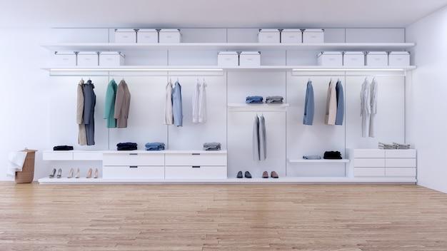 モダンなミニマリストの更衣室のインテリア Premium写真