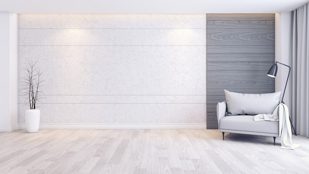 Modern and minimalist interior of living room interior, gray armchair on wood floor and concrete wall Premium Photo