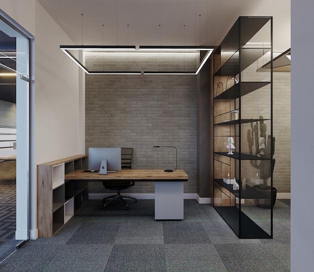 Современная офисная комната с рабочим столом и полкой, 3d визуализация Premium Фотографии