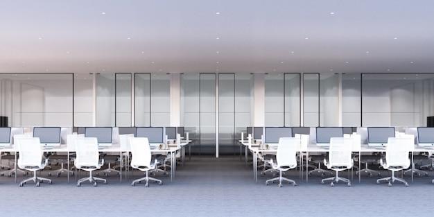 灰色のカーペットの床と白い机と会議室の3 dレンダリングと近代的なオフィスの作業領域 Premium写真