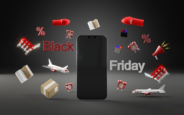 Telefono moderno per lo shopping del venerdì nero Foto Gratuite