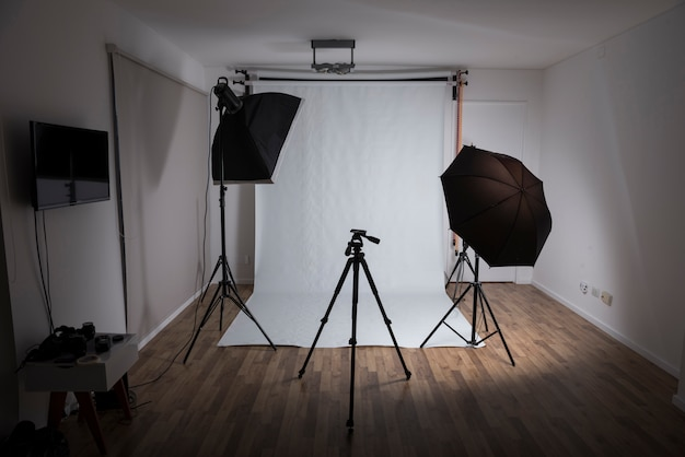 Modern photo studio with professional equipments Free Photo