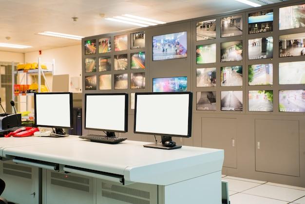 Modern plant control room and computer monitors Premium Photo