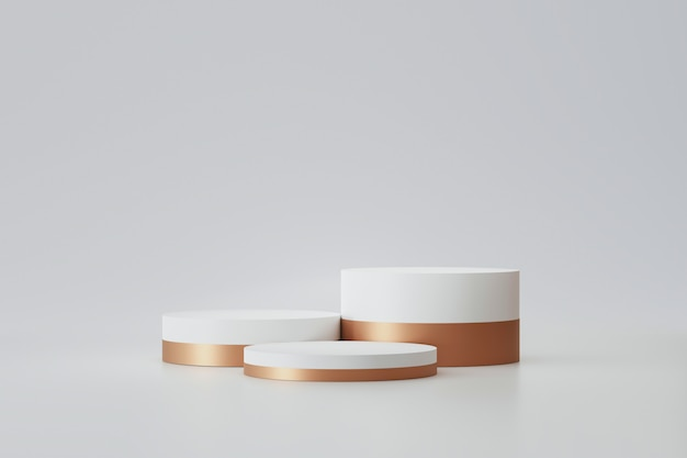 Modern podium or pedestal display with platform concept on white background. blank shelf stand for showing product. 3d rendering. Premium Photo