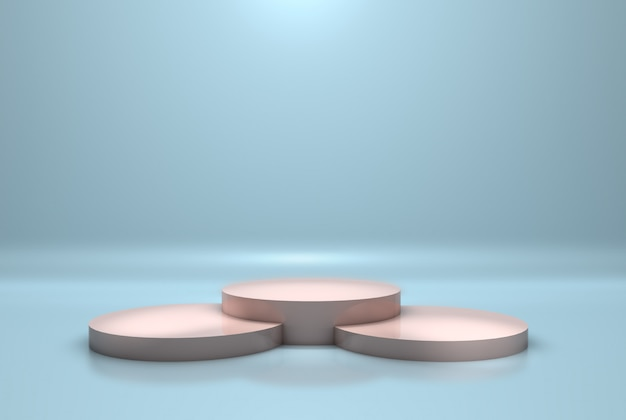 Modern podium or pedestal with platform concept on pastel blue wall. 3d rendering Premium Photo