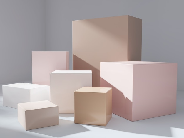 Modern  product display podium with sunlight and leaf shadow Premium Photo