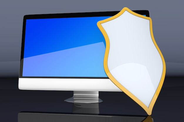 A modern protected and shielded all in one computer. Premium Photo