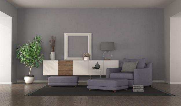 안락 의자, 발판 및 찬장이있는 현대적인 보라색 거실. 3d 렌더링 프리미엄 사진