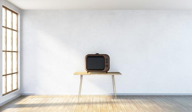 テーブルの上のレトロなヴィンテージテレビと3dレンダリングのパノラマウィンドウを備えたモダンな部屋のインテリア Premium写真