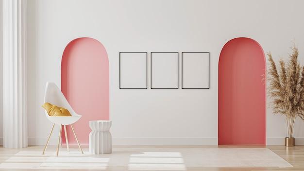 白い椅子と装飾が施されたモダンな客室 Premium写真