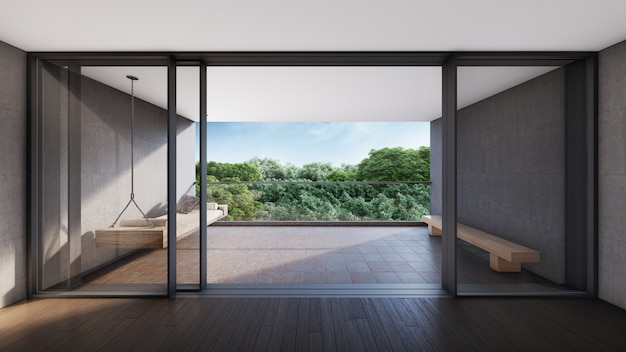 현대적인 객실, 발코니 전망. 3d 렌더링 프리미엄 사진