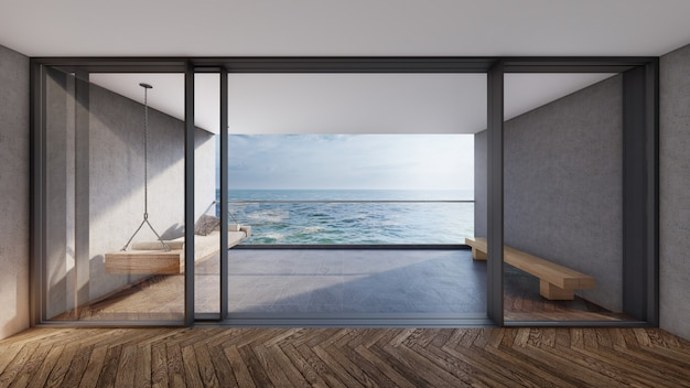 발코니 전망, 바다와 하늘이 내려다 보이는 현대적인 객실. 3d 렌더링 프리미엄 사진