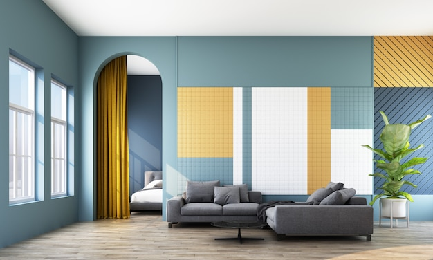 Modern room with sofa, window and arch Premium Photo
