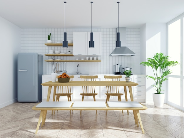 Modern scandinavian kitchen and dinning  room interior,wood table and chair with white counter Premium Photo