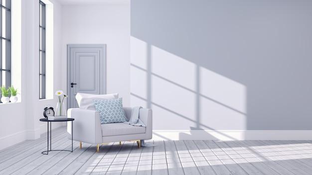 Современный скандинавский интерьер гостиной Premium Фотографии
