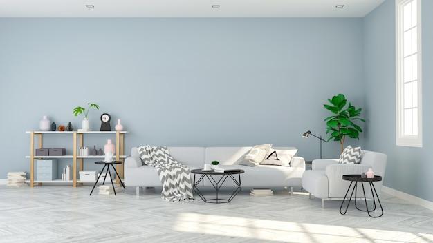 Awesome Modern Scandinavian Style Gray Sofa On Wood Floor And Blue Inzonedesignstudio Interior Chair Design Inzonedesignstudiocom