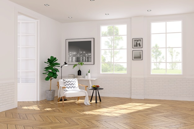 Modern scandinavian style,living room interior concept,white armchair on wood floor with w Premium Photo