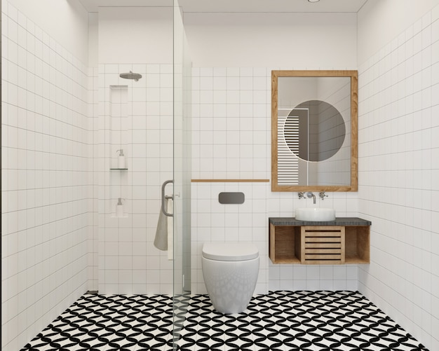 Premium Photo Modern And Simple Small Bathroom Design With Wall Tile And Pattern Floor