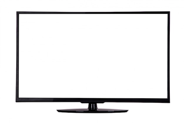 Modern slim plasma tv on a black stand isolated on white Premium Photo