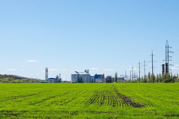 Modern soybean processing plant Premium Photo