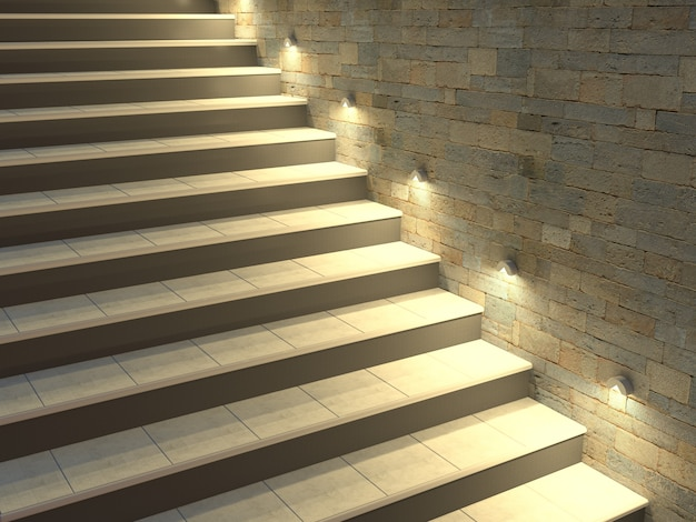 백라이트 단계가있는 현대 계단 프리미엄 사진