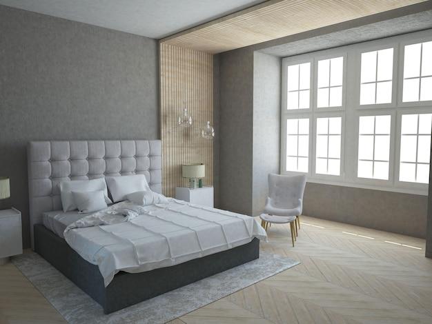 Modern stylish bedroom with concrete wall Premium Photo