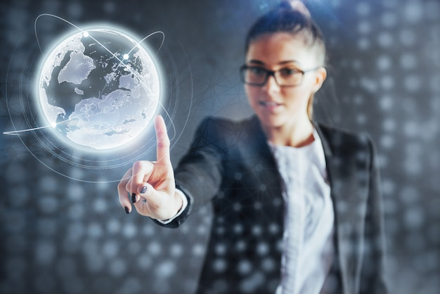 Modern technologies, internet and network  - man in business clothes, presses the button Premium Photo