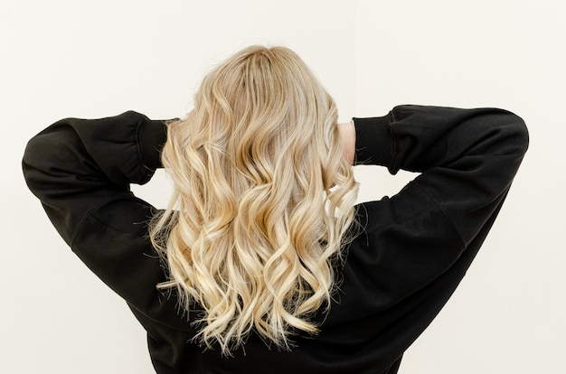 Modern trendy airtouch technique for hair dyeing. look from behind Premium Photo